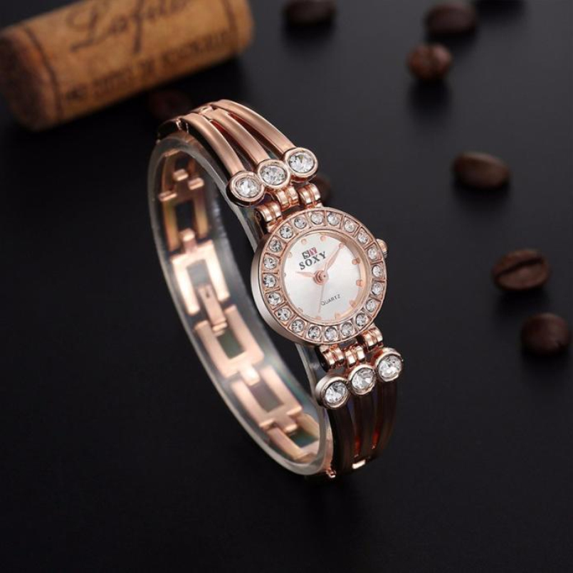 Excellent Quality Women Watch Brand Clock Stainless Steel Bangle Watch Quartz Simple Casual Relojes Female Rhinestone Wristwatch