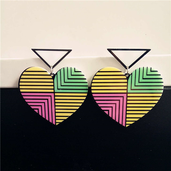 Lovely girl fashion big hanging jewelry brinco grande stripe triangle heart earrings acrylic