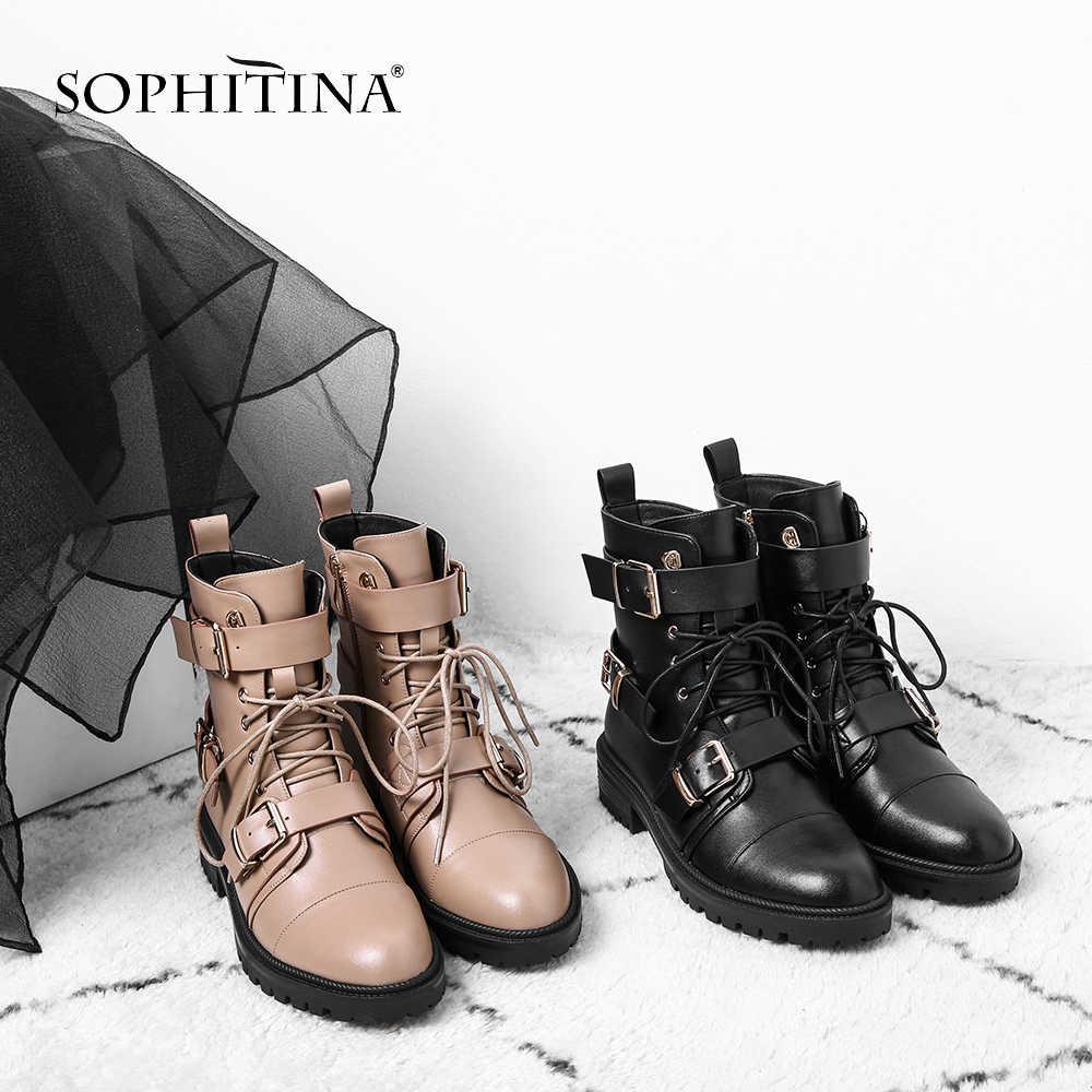 SOPHITINA Moda Hakiki Deri Kare Topuk Kadın Botları Rahat Sivri Burun Med Topuk Ayakkabı Temel El Yapımı Bayan Botları SO226