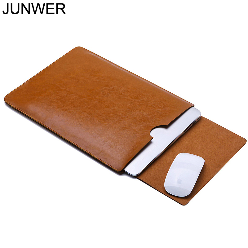 JUNWER PU Leather Sleeve Protector bags For Apple macbook Air Pro Retina 11 12 13 15 laptop Cover For Mac book 13.3 inch