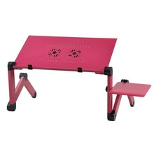 Hot For Dual fan with Mouse Board Aluminum Portable Folding Computer Desk(Rose)
