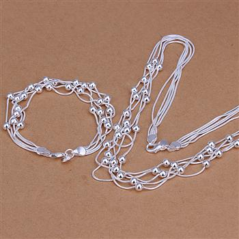 S221 Hot sale free shipping silver fine jewelry sets,Wholesale 925-Sterling-Silver charms fashion Five Lines Of Bean /adfaiuma