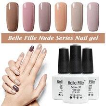 BELLE FILLE Nude Series UV Nail Gel Nail Art Soak Off khaki coffee color nail polish Varnish Manicure vernis semi permanent
