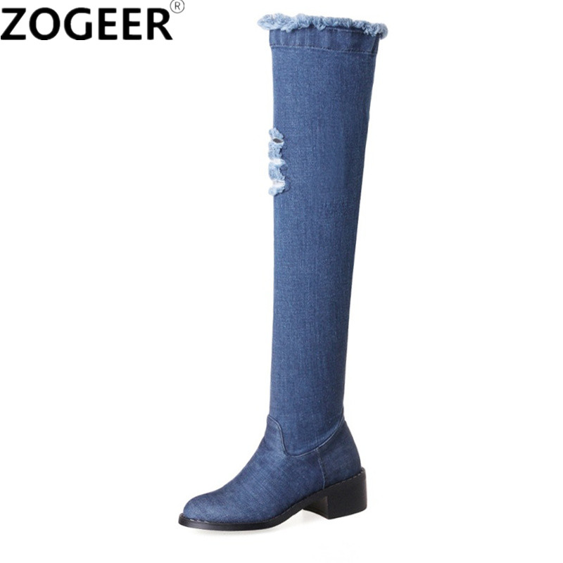 2018 Spring Autumn Hot Women Jeans Boots Med Heels Over The Knee Boots Top Quality Thigh High Boots Fashion Sexy Ladies Shoes hot 2017 new fashion sweet womens high boots spring autumn ladies over the knee boots casual women boots for women t26 1