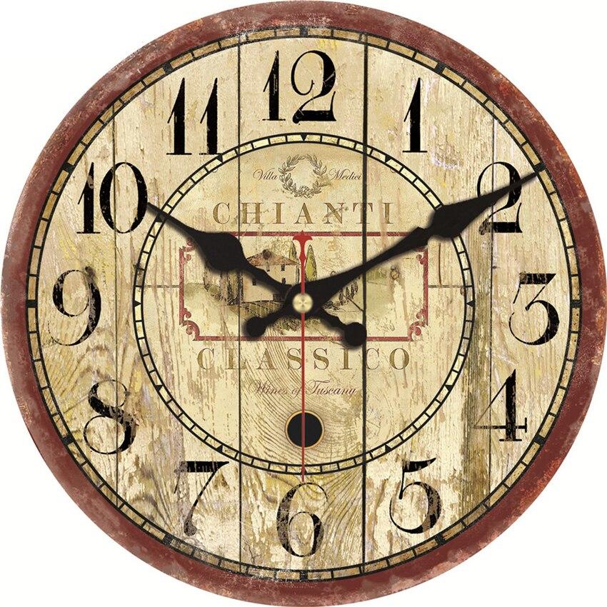 € 9.99 45% de DESCUENTO|Relojes de pared grandes clásicos sala de estar  silenciosa Oficina cocina Diseño hogar Decoración pared arte Vintage  creativo ...