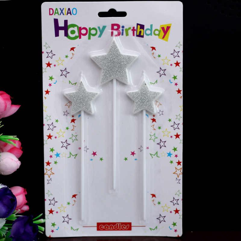 Креативные свечи на день рождения, золотые свечи, пятиконечные звезды, серебряные свечи, торт на день рождения, Длинные свечи, вечерние единороги.
