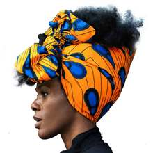 Shenbolen African Headwrap Women Cotton Wax Fabric Traditional Headtie Scarf Turban 100% 72x22