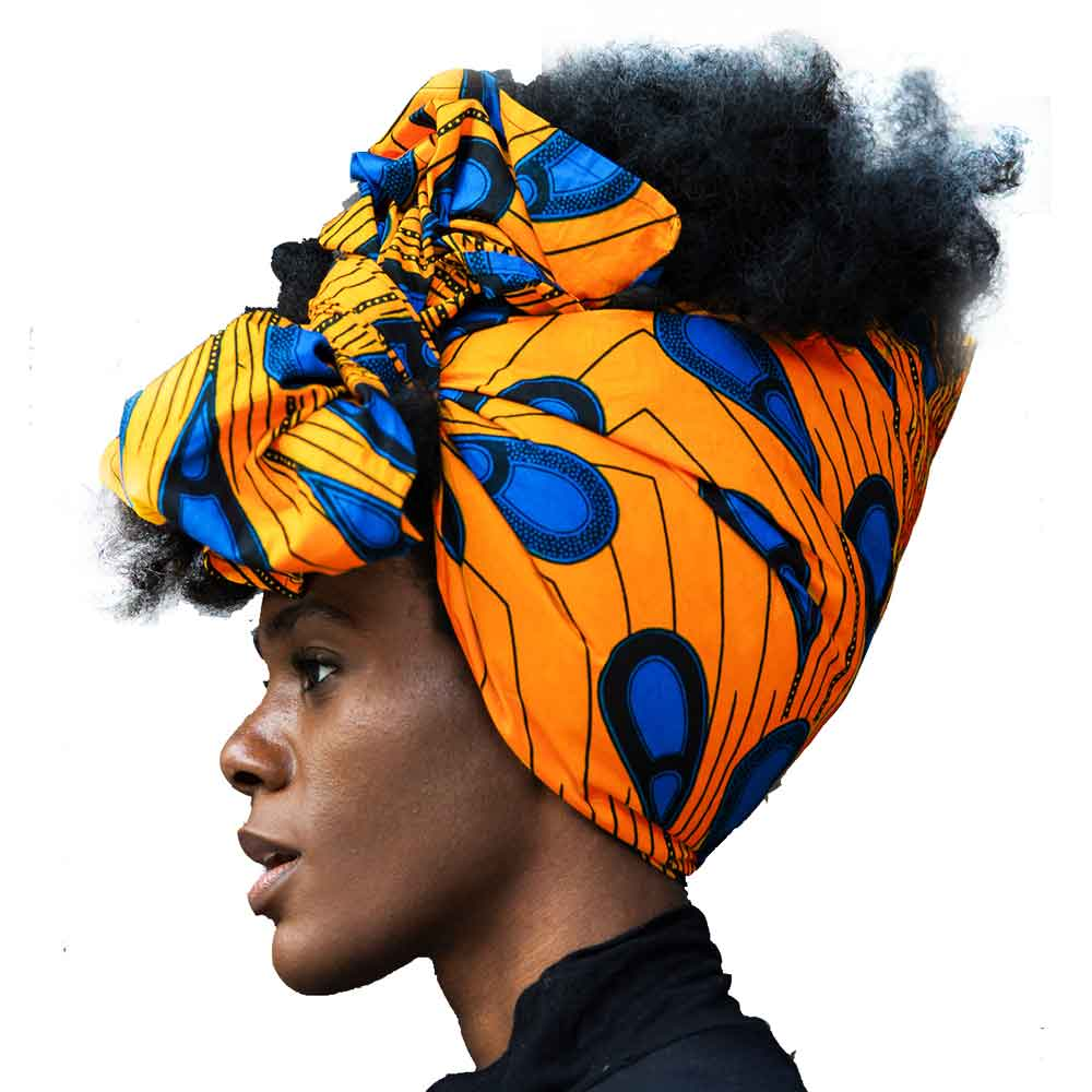 Shenbolen African Headwrap Women Traditional Headtie Scarf Turban 100% Cotton Wax 72''x22''