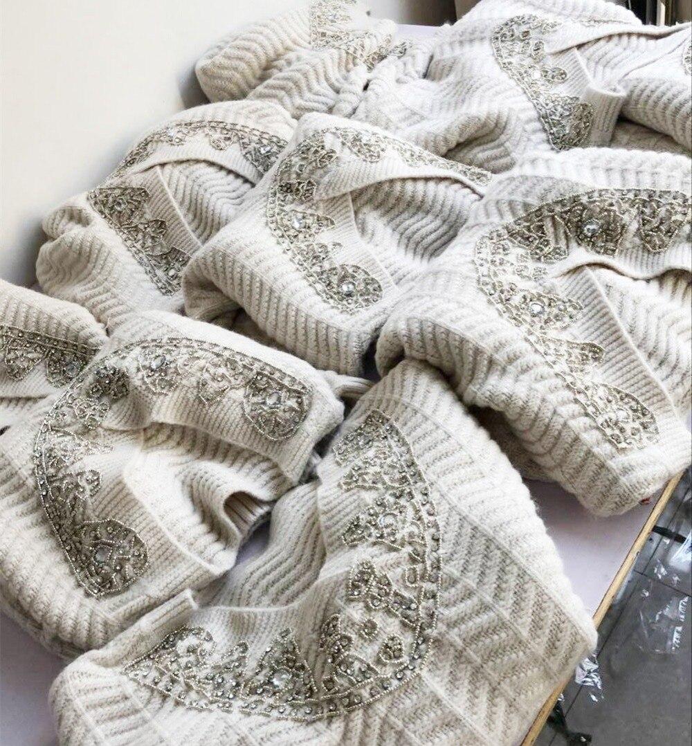 Knit Main La Printemps Cou Perles Sexy Chandail Beige À Sequin Manches Top Pull Longues Dames V Femmes qEz56Wxnw