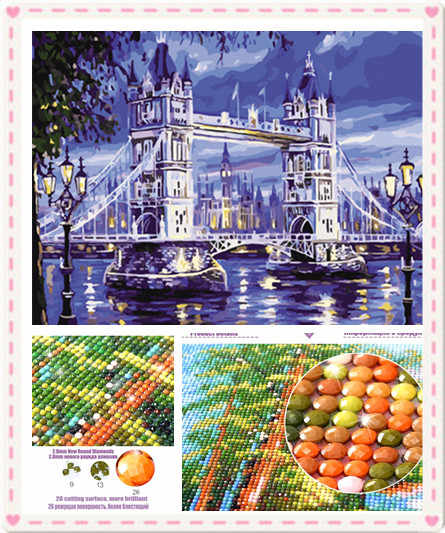 2019 hot sale London Bridge Diy diamond  Painting picture on wall acrylic painting diy diamond embroidery home decor for gift zx