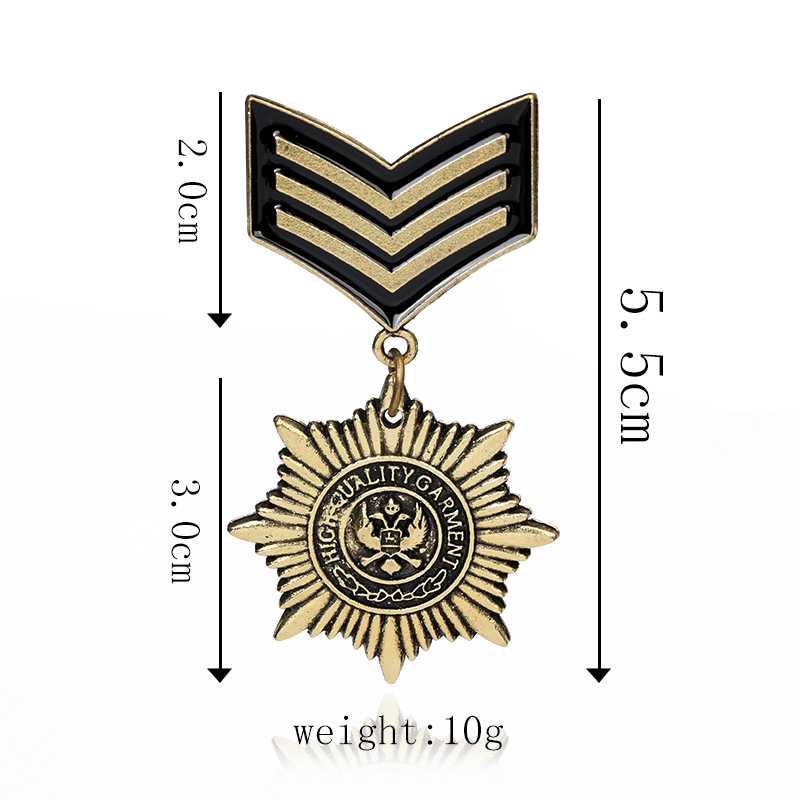Tocona Gothic Bronze Military Medal Brooches Pins for Men Military Pins And Badges suit Accessories 3705