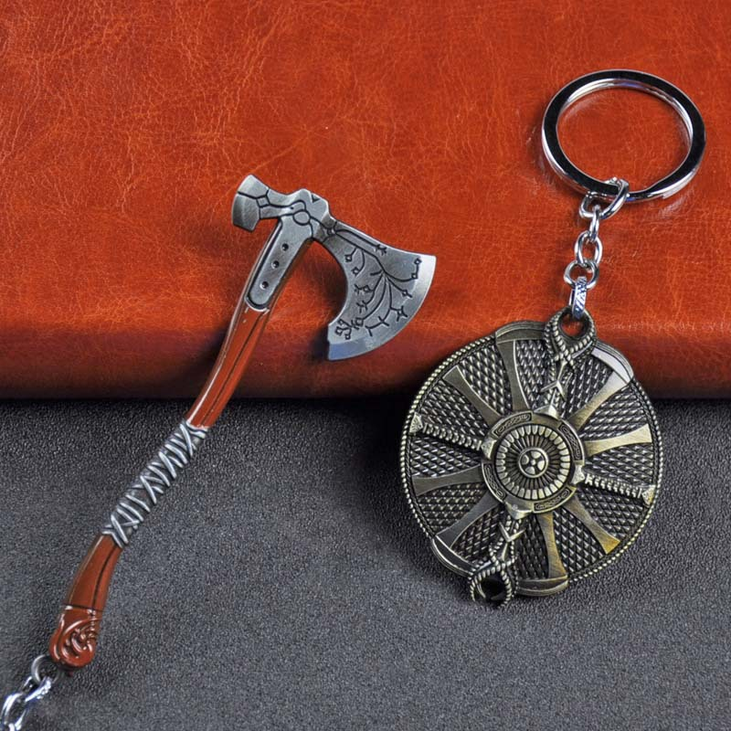 SC Fashion God Of War 4 Kratos Axe Keychains Exquisite Crystal Carved Pattern Axe Pendant Key Holder Souvenir Keychain Toys