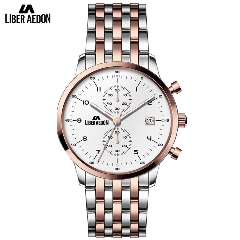 Liber Aedon Top Brand Luxury Men Watches Luminous Hands Stainless Steel Wristwatch Fashion Quartz Analog Watch birthday gift irisshine i0856 men watch gift brand luxury new mens noctilucent stainless steel glass quartz analog watches wristwatch