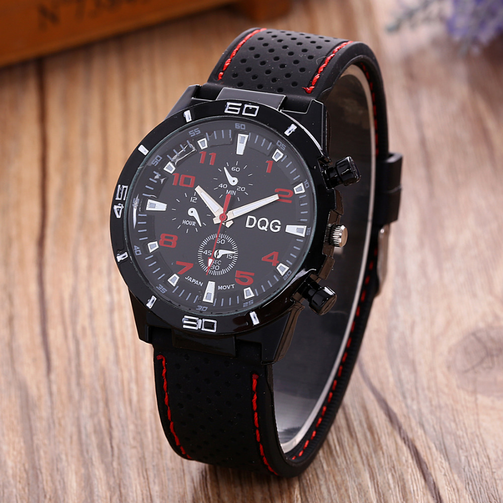New Brand DQG Casual Quartz Watch Men Sports Racing Silicone Strap Watches Relogio Masculino Military Wrist Watch Hot Clock Red xonix sport brand fashion men military sports water resistant watches men s quartz clock man silicone strap casual wrist watch