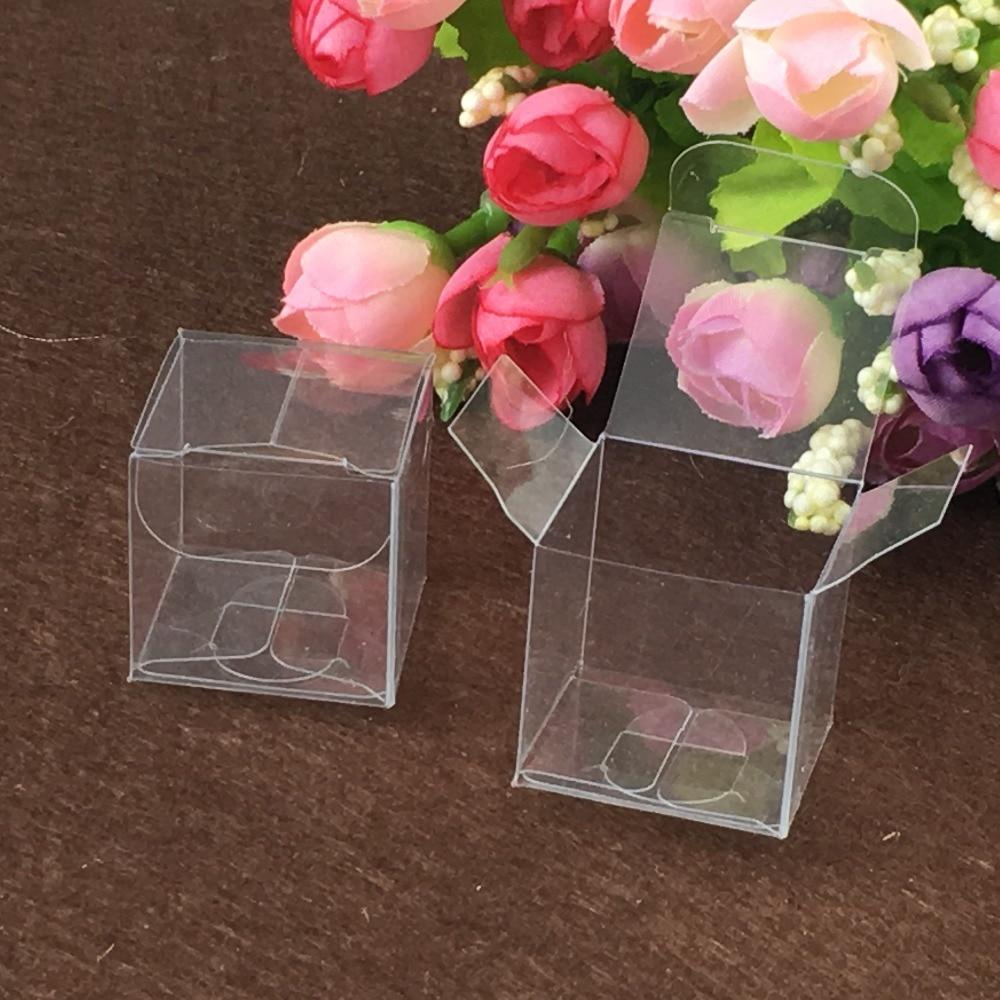 50 pcs 8*8*8 cm de plástico transparente de pvc caixas de embalagem para giftchocolatecandycosmeticcakecrafts pacote de exibição Caixa transparente
