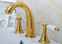 Golden brass Bathroom Faucet 3 Holes Double Handle Basin Sink Water Taps Widespread Bathroom Basin Faucet Sink Mixer Tap Kgf022
