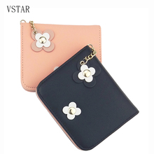 top pu two fold short girls wallet kids purse button clutch female woman card holder money bags lovely ladies clips