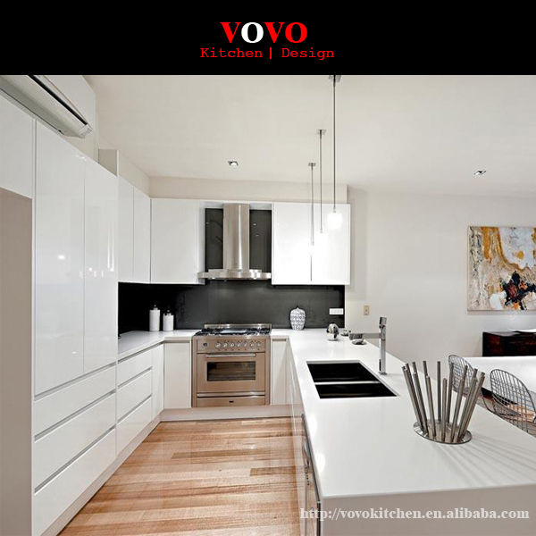 White Kitchen Cabinets High Gloss: Modern Design High Gloss White Lacquer Kitchen Cabinets