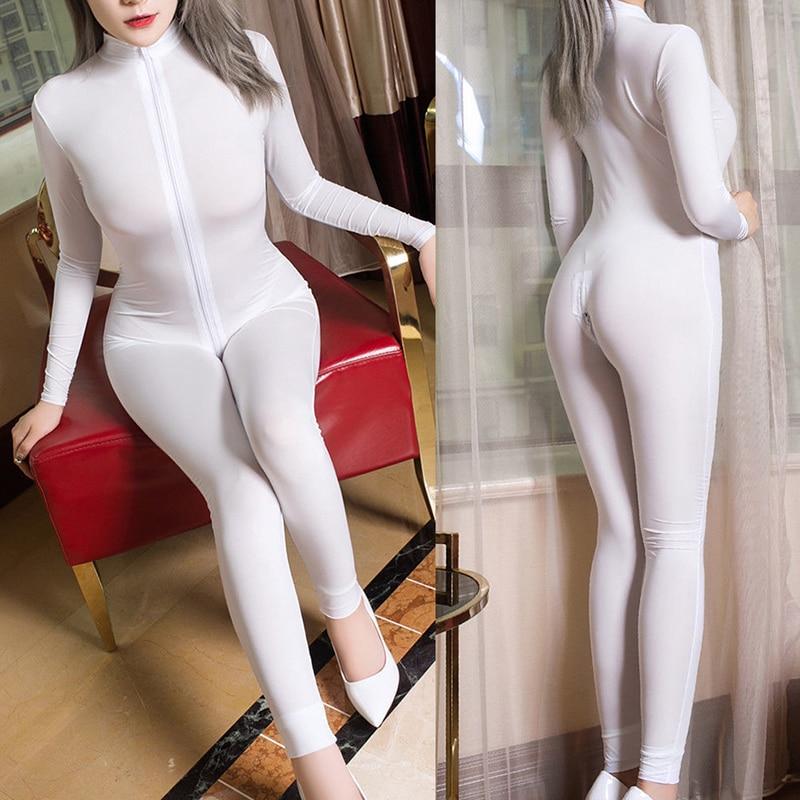 Sexy Lingerie Female Erotic Catsuit Bodysuit Front Zipper Open Crotch Pole Dance Clubwear Jumpsuit
