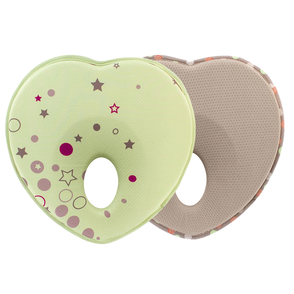 Baby Pillow Anti Roll Toddler Neck Support Protection Memory Foam Positioner Cushion Flat Head Sleeping Heart Shape Infant