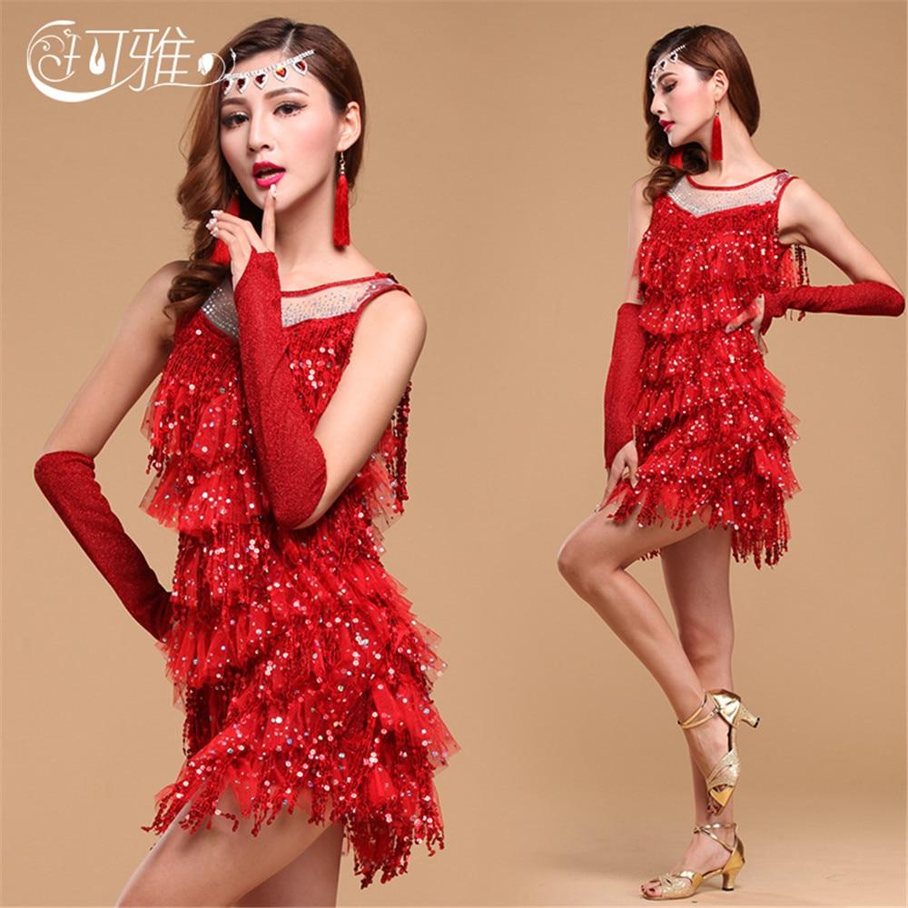 2018 New Tango Dress Sequins Ballroom Dancing Dress for Women Latin Dance Costumes for Sale Rumba Dance Dresses