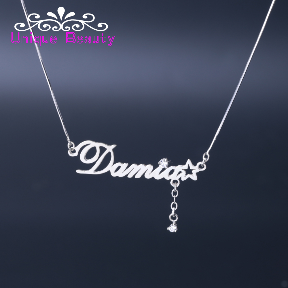 Shooting Star Name Necklace Zircon Design 925 Sterling Silver Custom Nameplate Pendant with Snake Chain Solid Silver star design body chain