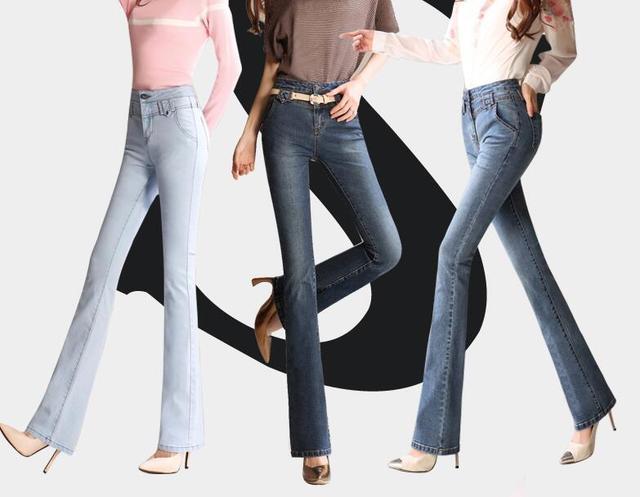 más nuevo mejor calificado lindos zapatos estilo distintivo € 24.39 16% de DESCUENTO|Mujeres campana Pantalones Vaqueros nuevas mujeres  Pantalones campana 4 Color alta cintura Slim Denim Pantalones t499 en ...