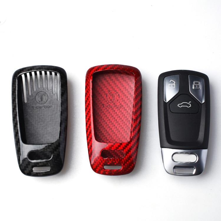 Carbon Fiber Smart Key Cover Key Case Key Fob box For Audi New A4 A4L A5 S5 2017 Q7 2016 TT 2015 2017 Car Accessories Covers цены онлайн