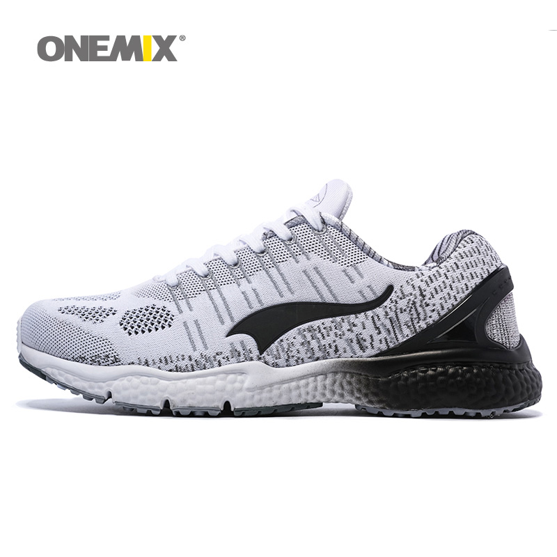 ONEMIX Man Running Shoes For Men  Athletic Trainers Gray White Knit Zapatillas Sport Shoe Outdoor Walking Sneakers Free Shipping onemix 2016 men s running shoes breathable weaving walking shoes outdoor candy color lazy womens shoes free shipping 1101