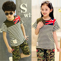 2015 summer children's clothing set boys & girl sport suit fashion strip Camouflage short sleeve O-neck set M word print 110-160