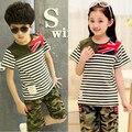 Meninos e menina terno de verão crianças faixa de manga curta o-pescoço de impressão conjunto de 110 - 160