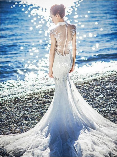 Oumeiya Ow322 Custom Made Lace Liques Bare Back Long Tail Y Mermaid Beach Wedding Dresses 2016
