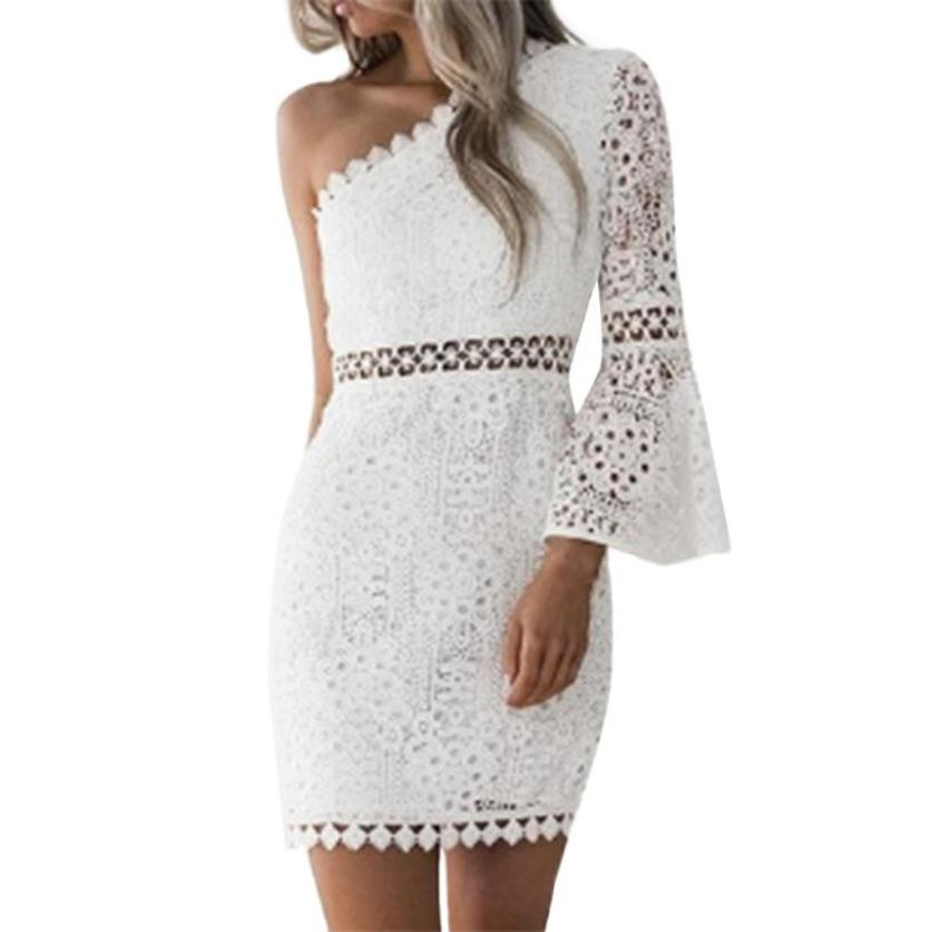 3d09745432cd Fashion Lady Lace Bodycon White Pencil Dress Summer Women One Shoulder Long  Sleeve Bandage Party Dresses Vestidos 2019 #JO