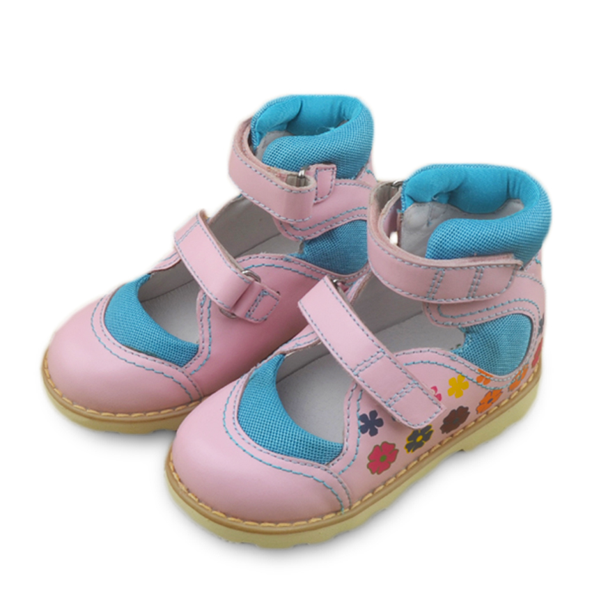 High Quality 1pair Genuine Leather Orthopedic Shoes Kids Girls Sandals With Hard Sole Fashion Children Shoes