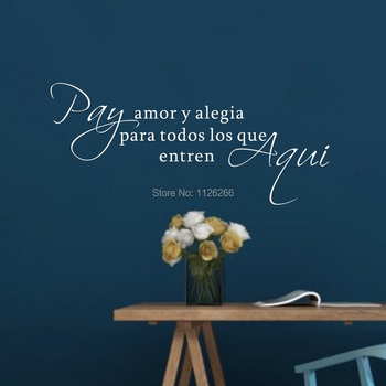 Calcomanías de pared de vinilo con frase en español, letras de Amor,...