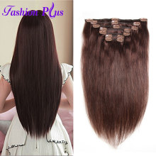 Fashion Plus Clip In Human Hair Extensions 120g Machine Made Remy Hair Full Head 7PCS Set Clips In Human Hair Clip In Extension(China)