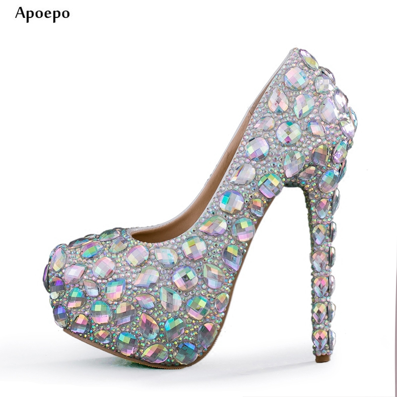 New Bling Bling Crystal Embellished High Heel Shoes 2018 Sexy Platform Pumps for Woman The Bride Dress Heels Rhinestones shoe new 2018 new fashion sexy pointed toe thin heels shoes bling bling glitter embellished ankle starp high heel shoe 16cm pumps