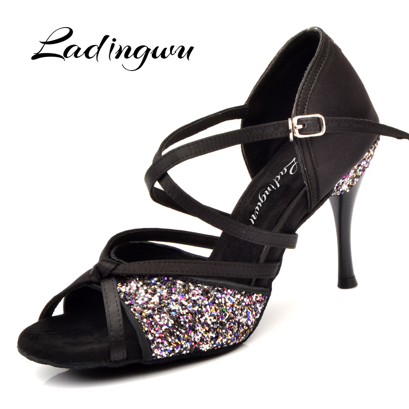 Ladingwu New Women's Dance Shoes Black Satin And Glitter Latin Dancing Shoes Salsa Soft Bottom Ballroom Dance Shoes Custom 8.5cm