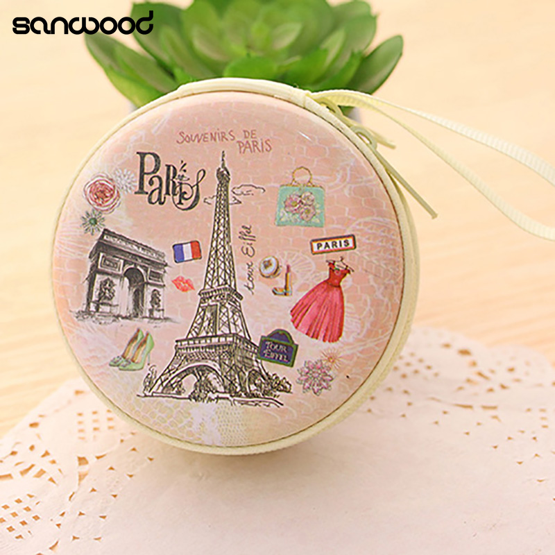 Portable Lovely Round Wallet Cartoon Eiffel Tower Earphone Key Holder Case Bag