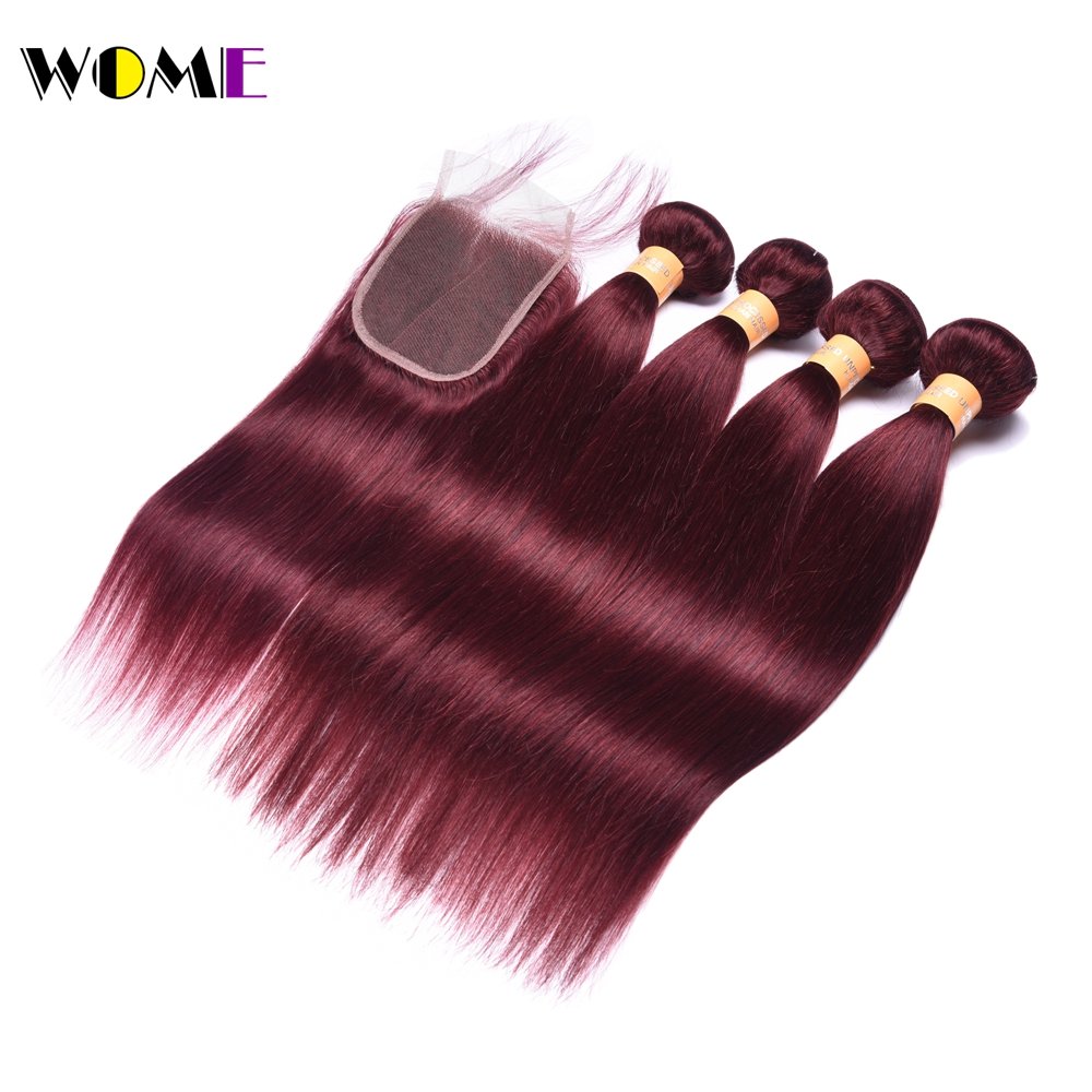 Wome Pre-Colored Burgundy Bundles With Closure Red Wine Color 4 Bundle Hair Weave Indian Burgundy Bundles With Closure