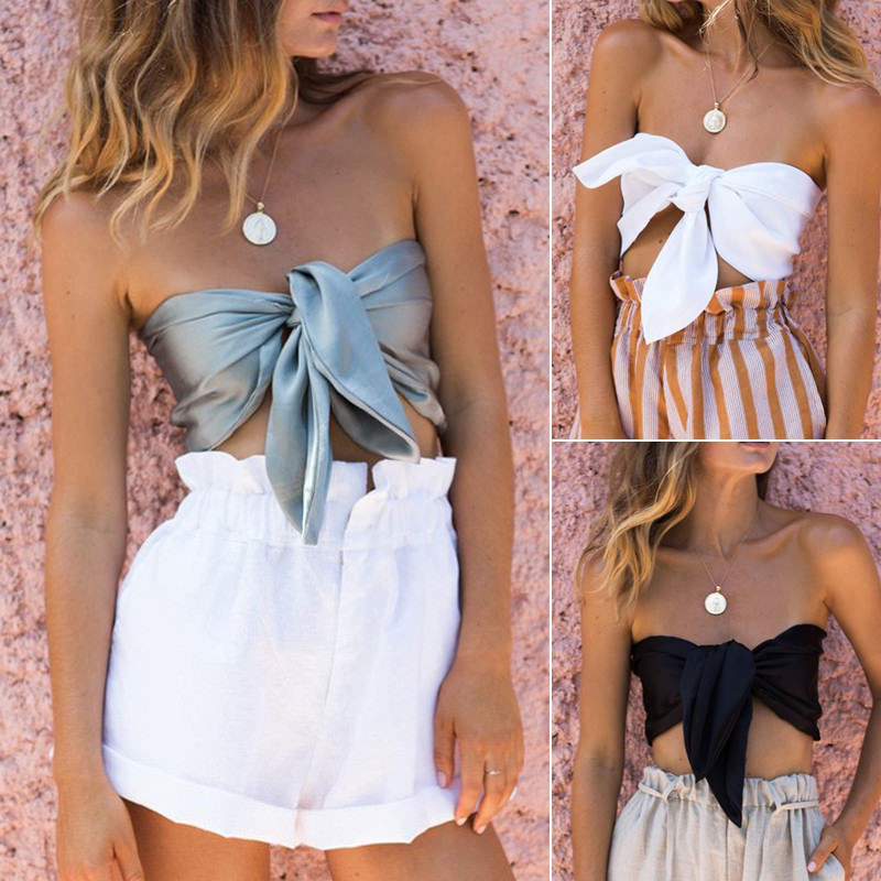 Women Bandage Casual Sleeveless Crop Top Casual Stain Silk Bow Tanks(not have stock right now This arrives at the end of March image