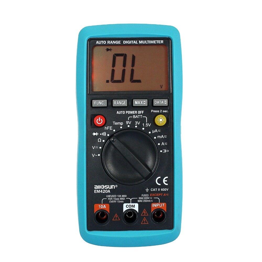 all-sun Digital Multimeter Continuity Diode Transistor Battery Tester Temp. Measuring Current AC/DC Analysis Instruments EM420A  цены