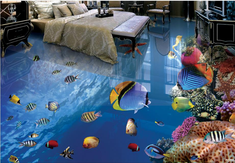 custom 3d photo 3d flooring Tropical Fish Underwater World wallpapers for living room 3d floor stereoscopic wallpaper корм tetra tetramin xl flakes complete food for larger tropical fish крупные хлопья для больших тропических рыб 10л 769946