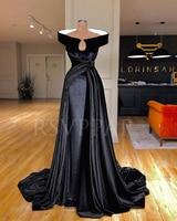 New Arrival Long Evening Dress 2019 Cap Sleeve Lebanon Design Black Velvet Arabic Women Evening Gowns