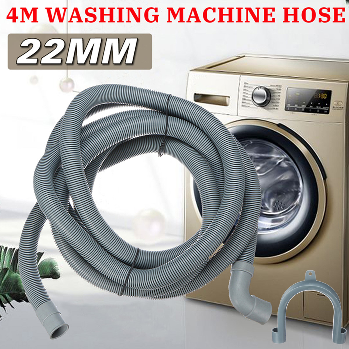 4M Wash Machine Dishwasher Drain Hose Outlet Water Pipe Flexible Extension 22mm With Bracket