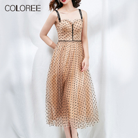 COLOREE High Quality Elegant Women Mesh Midi Dress 2019 High Waist Spaghetti Strap Diamonds Polka Dot Ball Gown Dress