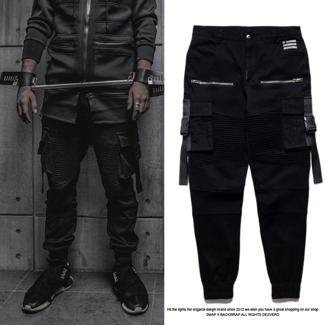 2016 Fashion Cool Biker Joggers Pants Men Hip Hop Black Star Kanye West Tyga Skinny Slim Fit Designer Brand Swag Hba Skate Pants