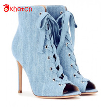 Okhotcn Satin Women Boots Peep Toe Thin Super High Heels European Style Women's Boots Fashion Multi Colors Zapatos Mujer Boots