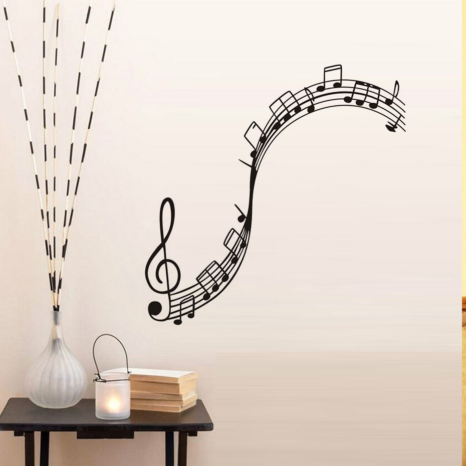 Us 8 54 35 Off Musical Notation Vinyl Wall Stickers Decals Children Music Note Wallpaper Mural S Boys Kids Home Bedroom Nursery Decor In