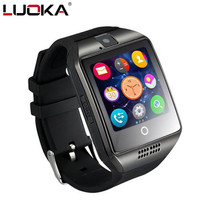 Free Shipping Q18 Bluetooth Smart Watch With Camera Facebook Whatsapp Twitter Sync SMS Support SIM TF